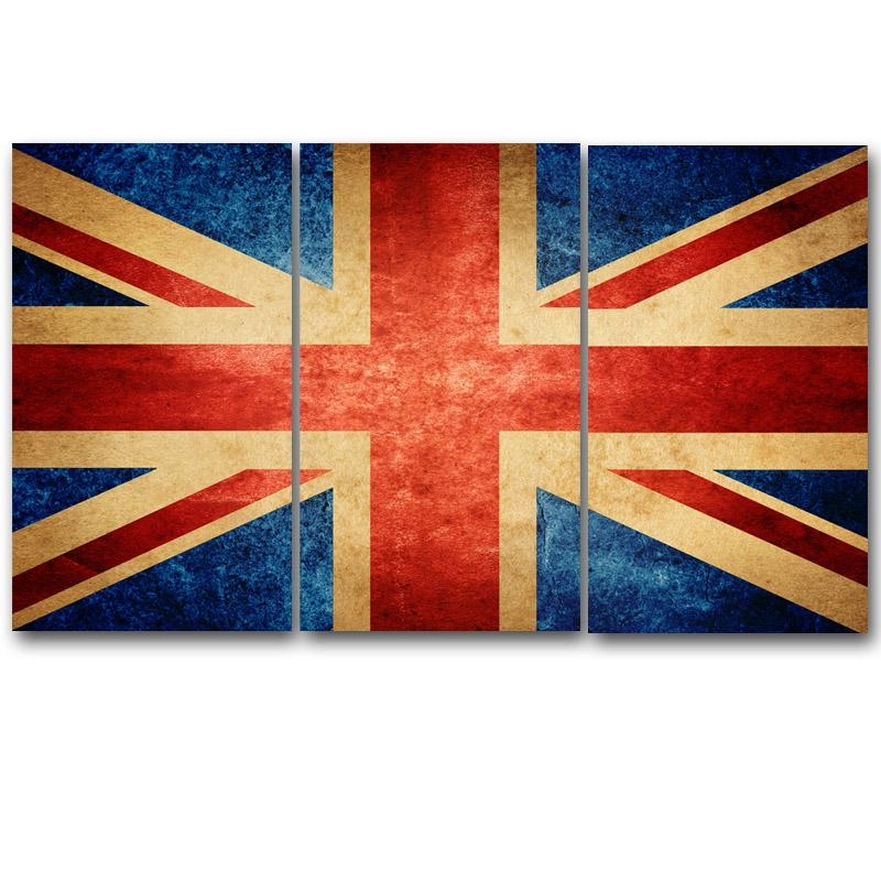 Hd 3 Piece Canvas Wall Art Printed Union Jack Prints Uk Flag With Regard To Union Jack Canvas Wall Art (View 20 of 20)