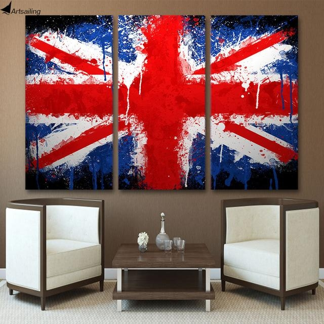 Hd 3 Piece Canvas Wall Art Printed Union Jack Uk Flag Painting With Union Jack Canvas Wall Art (View 9 of 20)