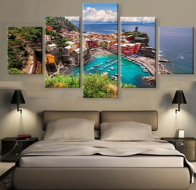 Hd 5 Piece Beautiful Village In Italy Modern For Home Decor For Italy Canvas Wall Art (Image 12 of 20)