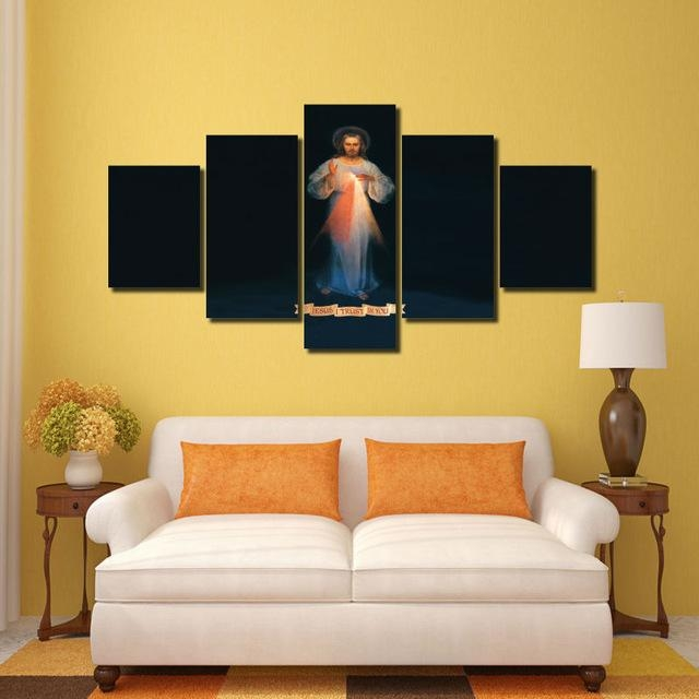 Hd Print 5 Pcs Canvas Wall Art Print Jesus Painting Art Home Decor Regarding Jesus Canvas Wall Art (Photo 6 of 20)