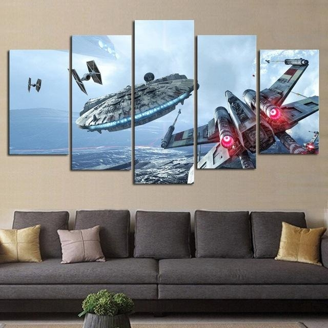 Hd Print 5 Pieces Canvas Wall Art Millennium Falcon X Wing Star Intended For Modern Canvas Wall Art (Image 8 of 20)