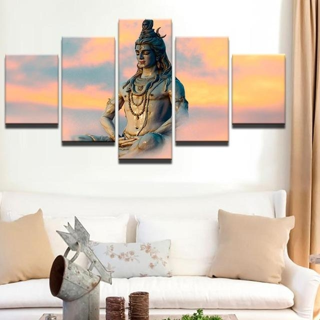 Hd Print 5Pcs Canvas Wall Art Shiva India Lord Religion Buddha Pertaining To India Canvas Wall Art (Image 8 of 20)