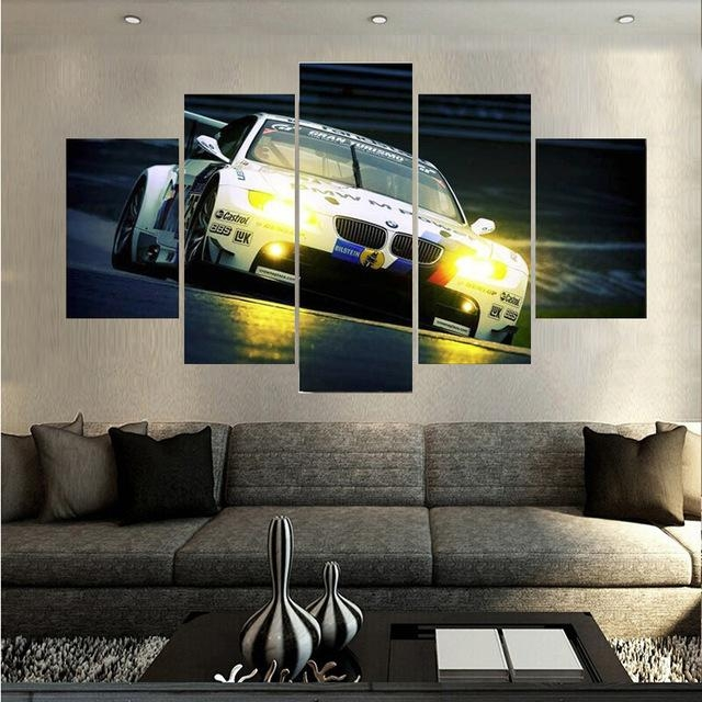 Hd Print 5Pieces New Style Bmw Spuer Sports Car Canvas Painting With Regard To Bmw Canvas Wall Art (Image 11 of 20)