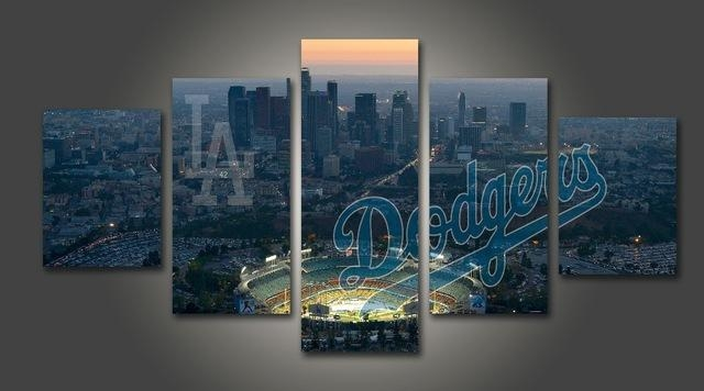 Hd Print Baseball Los Angeles Dodgers Fans Painting On Canvas Wall With Los Angeles Canvas Wall Art (Image 12 of 20)