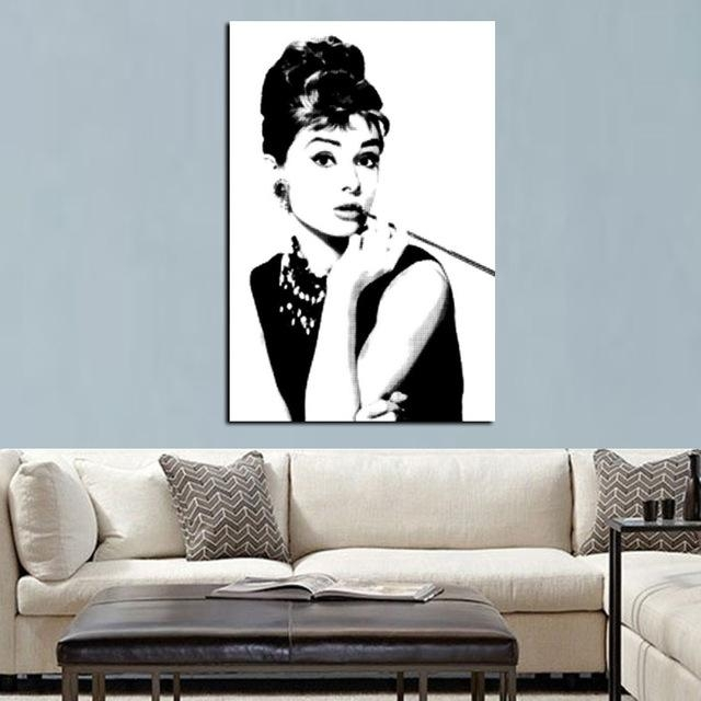 Hd Print Black With White Audrey Hepburn Portrait On Canvas Wall Pertaining To Portrait Canvas Wall Art (Photo 5 of 20)