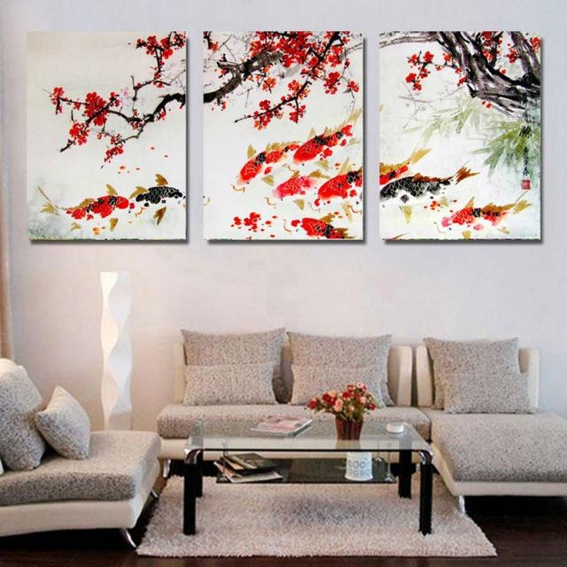 Hd Print Cherry Blossom Koi Fish Painting Canvas Wall Art Prictue With Regard To Koi Canvas Wall Art (View 13 of 20)
