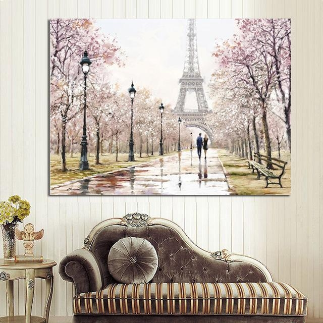 Hd Print Romantic City Couple Paris Eiffel Tower Landscape Pertaining To Canvas Wall Art Of Paris (Image 8 of 20)