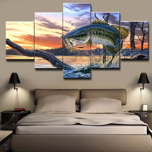 Hd Printed Wall Canvas Pictures Art Modern Frame 5 Panel Bass Regarding Jump Canvas Wall Art (Image 15 of 20)