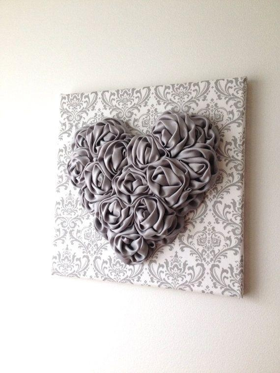 Heart Nursery Decor Satin Rosette Heart Wall Art 12X12 Canvas With Hearts Canvas Wall Art (Photo 15 of 20)