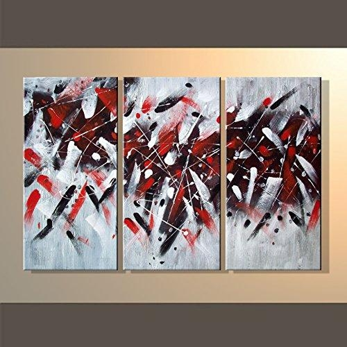 Hegifts – Rain Queen Abstract Red Black White Graffiti Oil For Graffiti Canvas Wall Art (Image 11 of 20)