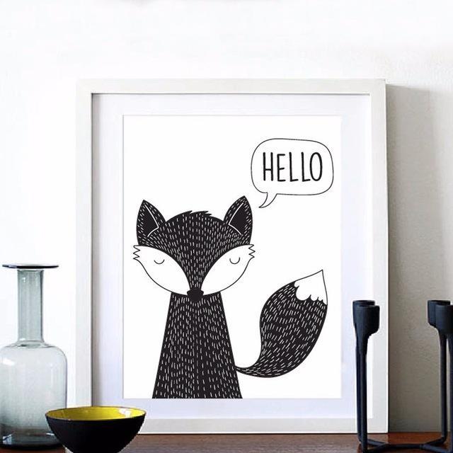 Hello Fox Art Print Canvas Poster, Modern Nursery Decor, Fox Kids Throughout Modern Nursery Canvas Wall Art (View 18 of 20)