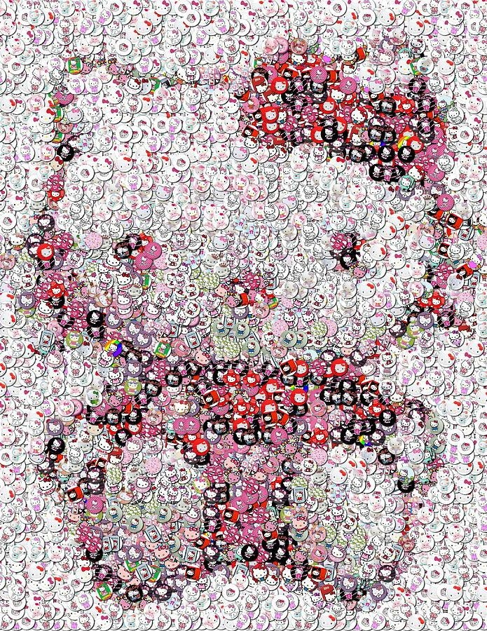 Hello Kitty Button Mosaic Photographpaul Van Scott With Regard To Hello Kitty Canvas Wall Art (View 15 of 20)
