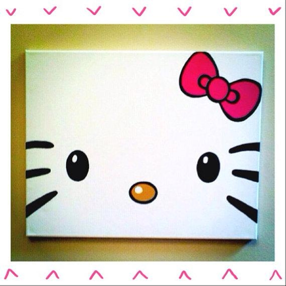 Hello Kitty Painted Canvasmbellaboutique On Etsy, $18.00 With Hello Kitty Canvas Wall Art (Photo 4 of 20)