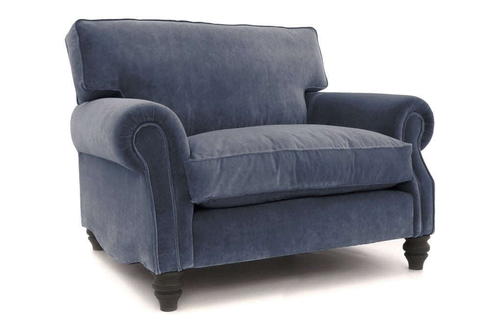 Hepburn | Vintage Velvet Snuggle Chair From Old Boot Sofas Pertaining To Snuggle Sofas (Image 4 of 10)