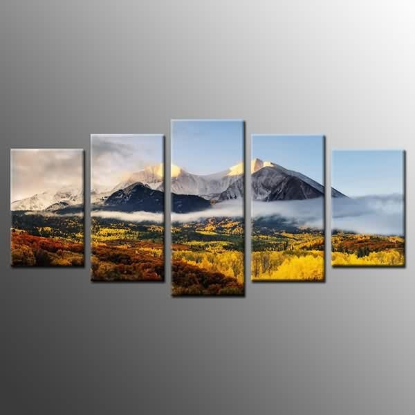 High Quality Factory Landcape Canvas Print Poster Autumn Mountains Regarding Mountains Canvas Wall Art (Image 11 of 20)