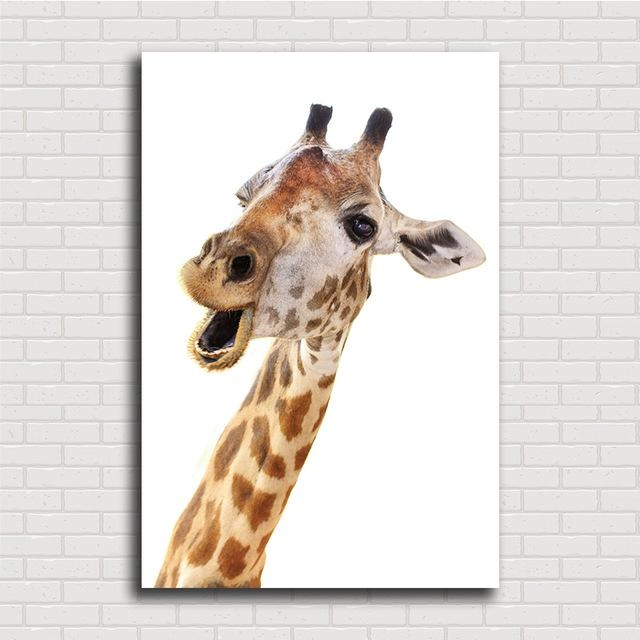 High Quality Loving Animal Canvas Framelss Oil Painting Cute With Regard To Giraffe Canvas Wall Art (Image 10 of 20)