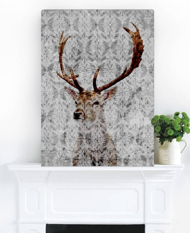 Highlands Stag Canvas Artpalm Valley | Notonthehighstreet Regarding Deer Canvas Wall Art (View 12 of 20)