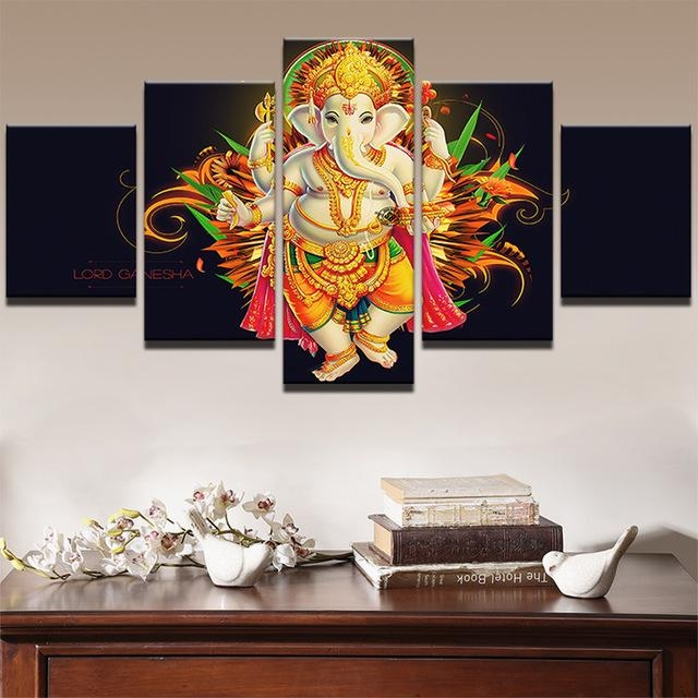 Home Decor Canvas Painting Abstract Wall Decorative Paintings 5 Pertaining To Abstract Ganesha Wall Art (View 18 of 20)