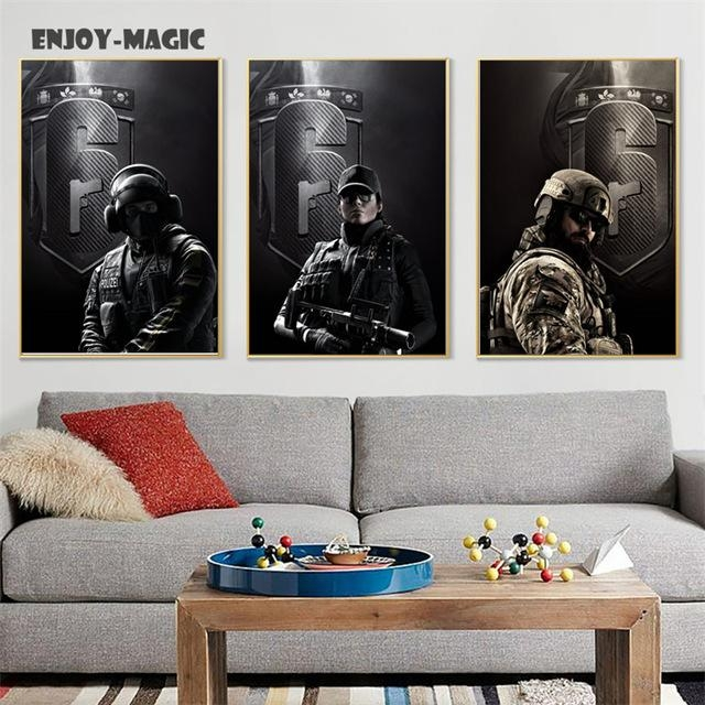 Home Decor Canvas Poster Rainbow Six Siege Painting Living Room With Regard To Rainbow Canvas Wall Art (View 19 of 20)