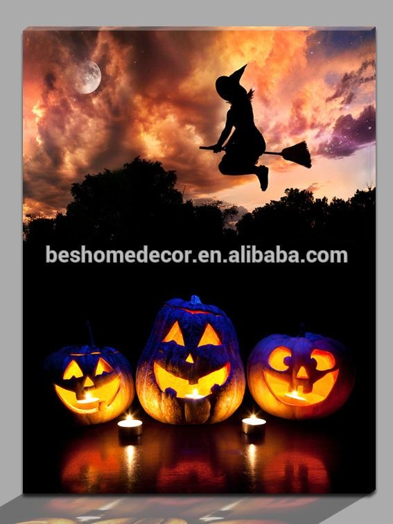 Home Decor Wholesalers Light Up Halloween Paintings,led Canvas With Halloween Led Canvas Wall Art (Photo 20 of 20)