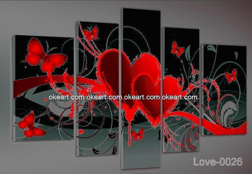 Home Decoration Abstract Oil Painting On Canvas Hand Painted Intended For Abstract Heart Wall Art (Image 15 of 20)