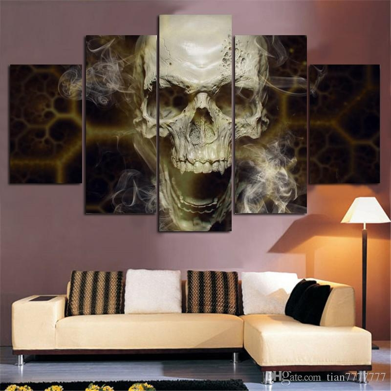 Home Decoration Wall Art 5 Panel Skull Painting Abstract Art Pertaining To Canvas Wall Art Pairs (View 11 of 20)