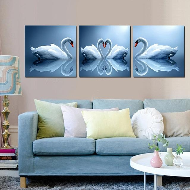 Home Decoration Wall Art Pictures, Pair Of Swan Painting Sweet For Canvas Wall Art Pairs (View 3 of 20)