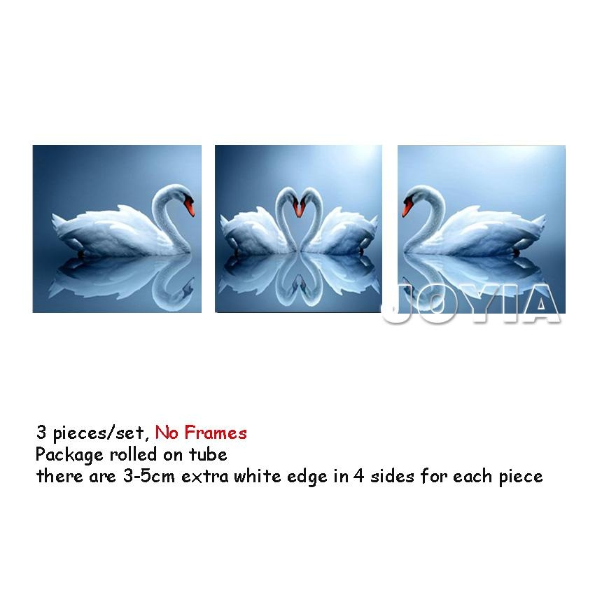 Home Decoration Wall Art Pictures, Pair Of Swan Painting Sweet With Canvas Wall Art Pairs (View 20 of 20)