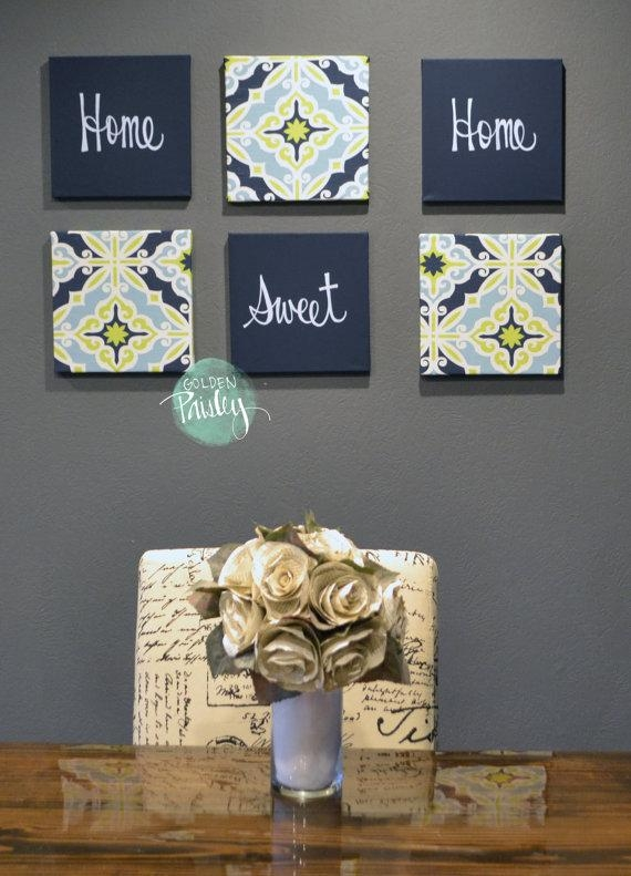 Home Sweet Home Navy & Lime Green Wall Art Pack Of 6 Canvas In Navy Canvas Wall Art (View 2 of 20)