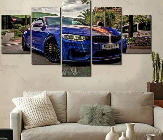 Home Wall Art Decor Frame Pictures Art Hd Modern 5 Panel Scenery For Bmw Canvas Wall Art (Image 12 of 20)