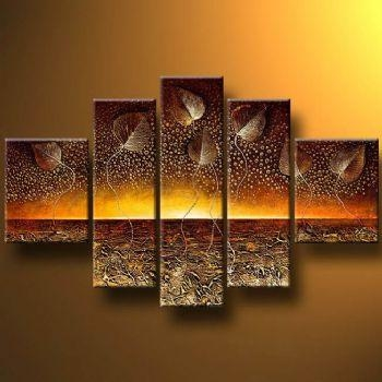 Horizon And Leaves Modern Canvas Art Wall Decor Abstract Oil For Abstract Horizon Wall Art (Image 10 of 20)