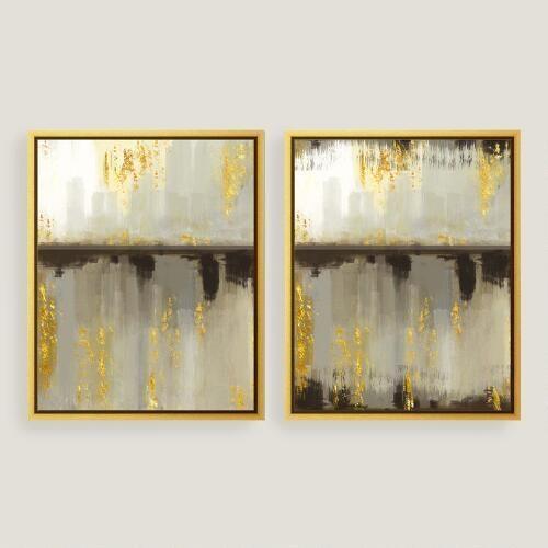 Horizon Gold Canvas Wall Art For Abstract Horizon Wall Art (Image 13 of 20)