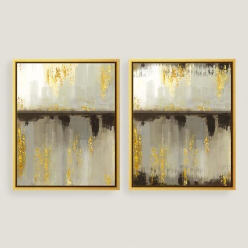 Horizon Gold Canvas Wall Art For Abstract Leaves Wall Art (View 7 of 20)