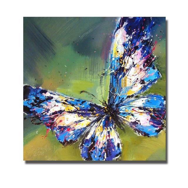 Hot Handpainted Oil Painting On Canvas Art Painting Modern Blue With Butterflies Canvas Wall Art (Photo 20 of 20)