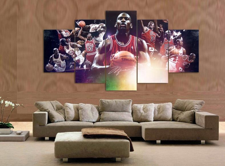 Hot High Quality 4Pcs Abstract Canvas Painting Michael Jordan Star For Michael Jordan Canvas Wall Art (Image 5 of 20)