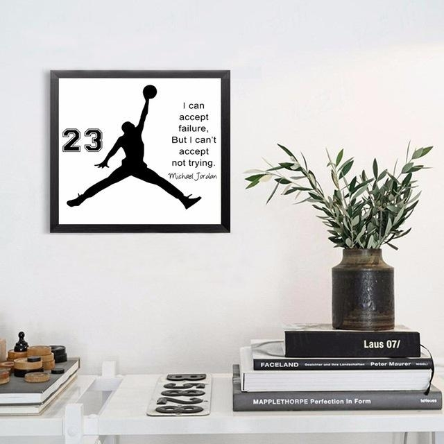 Hot Michael Jordan Poster Inspiring Quotes Wall Art Canvas Regarding Michael Jordan Canvas Wall Art (Image 6 of 20)