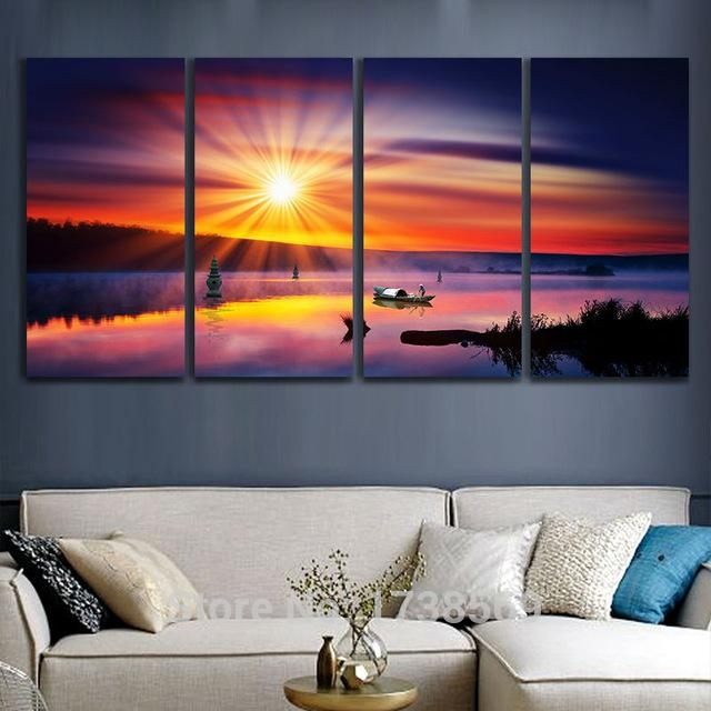 Hot Sale 4Pcs Ocean Canvas Art Printed Painting Oil Painting On In Ocean Canvas Wall Art (Photo 13 of 20)