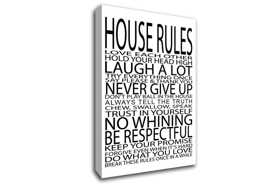 House Rules Love Each Other Text Quotes Canvas Stretched Canvas For Canvas Wall Art Family Quotes (Image 8 of 20)