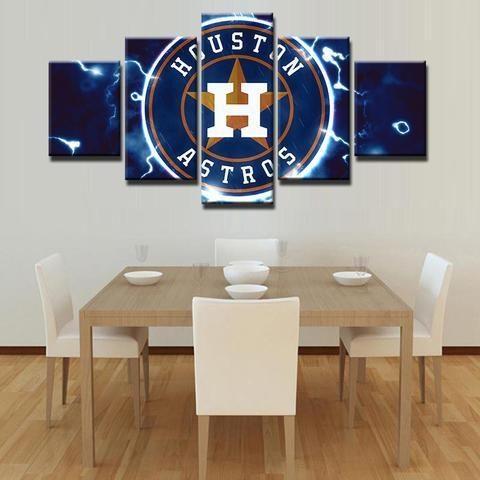 Houston Astros Mlb Baseball 5 Panel Canvas Wall Art Home Decor Within Houston Canvas Wall Art (Image 6 of 20)
