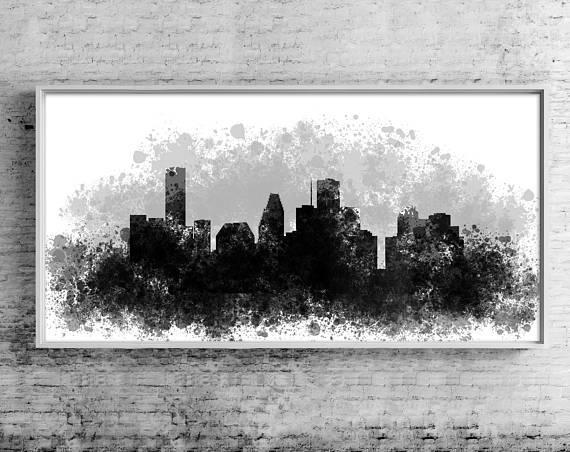 Houston Canvas Art Print Gift Houston Wall Art Cityscape Pertaining To Houston Canvas Wall Art (Image 7 of 20)