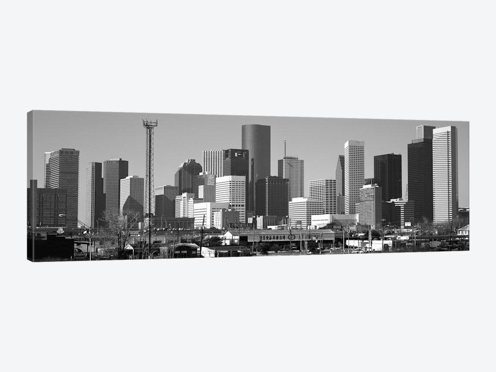 Houston Panoramic Skyline Cityscape (Black & White) Canvas Art Within Houston Canvas Wall Art (Photo 2 of 20)