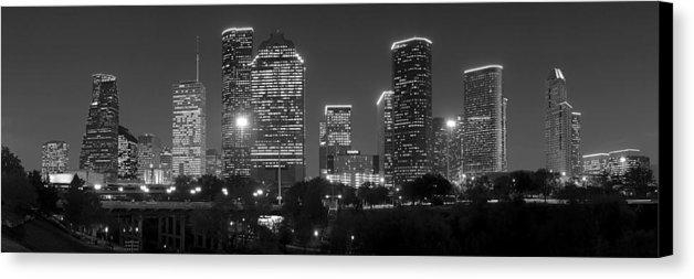 Houston Skyline At Night Black And White Bw Canvas Print / Canvas In Houston Canvas Wall Art (Photo 9 of 20)