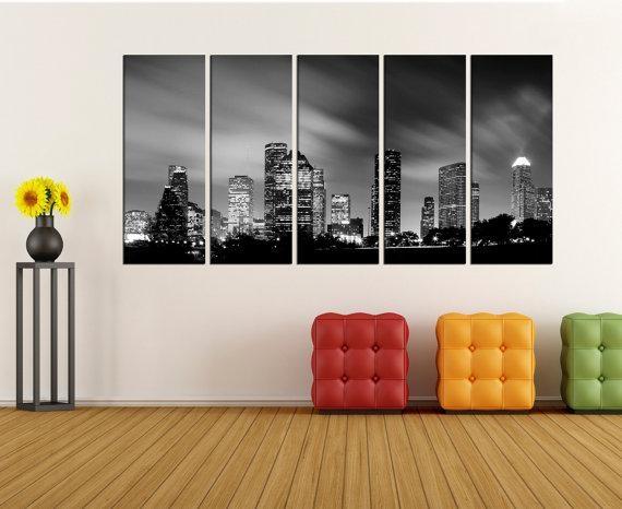 Houston Skyline Wall Art Canvas Print Canvas Art Extra Large Regarding Houston Canvas Wall Art (Photo 3 of 20)