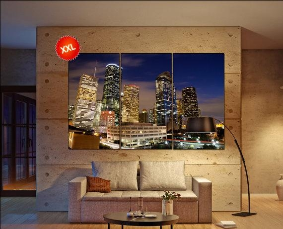Houston Wall Decor Art Houston Black White Houston Canvas Intended For Houston Canvas Wall Art (Photo 11 of 20)