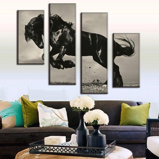 Huge 4 Pcs/set Animal Painting Combined Horse Painting Print On With Regard To Jump Canvas Wall Art (Image 16 of 20)