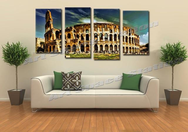 Huge Buildings Rome Colosseum Arena Giclee Canvas Prints Famous Regarding Canvas Wall Art Of Rome (Image 16 of 20)