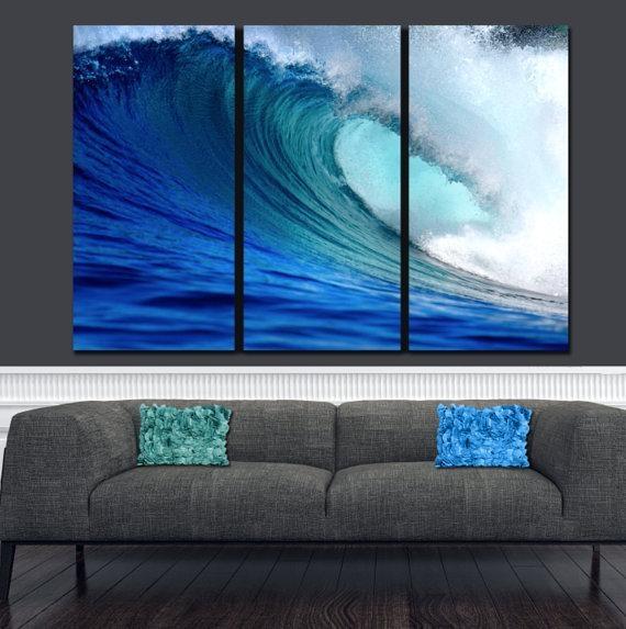 Huge Ocean Wave On Canvas Large Wall Art Ocean Canvas Blue Intended For Ocean Canvas Wall Art (Photo 9 of 20)