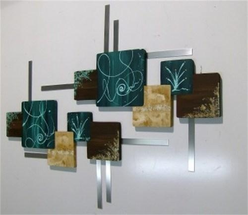 Huge Teal Brown Contemporary Abstract Wood And Metal Wall Hangings Intended For Geometric Modern Metal Abstract Wall Art (View 6 of 20)