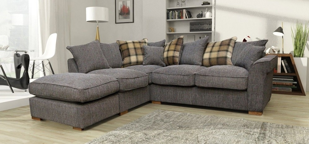 Hugo Corner Lhf Scatter And Footstool Charcoal – Fabric Sofas – Sofas Regarding Fabric Corner Sofas (Image 8 of 10)