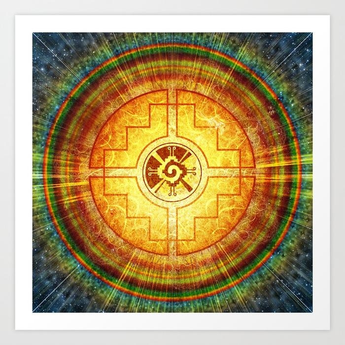 Hunab Ku Mandala Art Printmartinmancha | Society6 Pertaining To Ku Canvas Wall Art (Image 9 of 20)